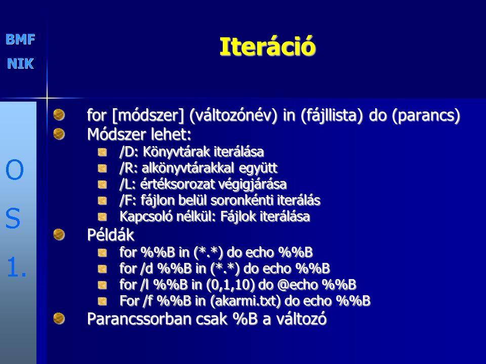 Iteráció for [módszer] (változónév) in (fájllista) do (parancs)